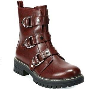 SO Monique Wine Combat boot Size 9